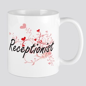 Receptionist Artistic Job Design with Hearts Mugs