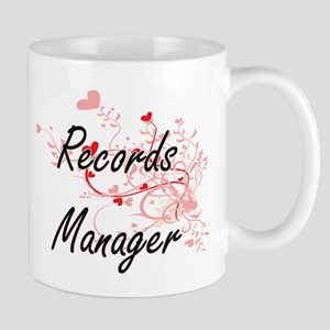 Records Manager Artistic Job Design with Hear Mugs
