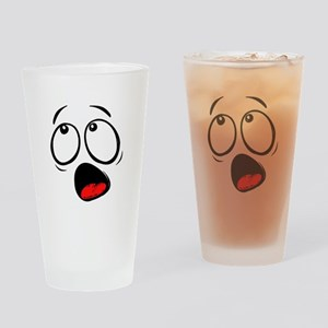 Surprised Yellow Smiley Face Drinking Glass