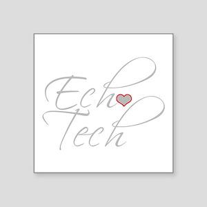 """Cursive Ech(Heart) Gray Square Sticker 3"""" x 3"""""""