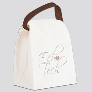 Cursive Ech(Heart) Gray Canvas Lunch Bag