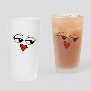 Kissing Smiley Face Drinking Glass