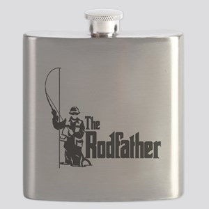 The Rodfather Fun Fishing Quote for him Flask