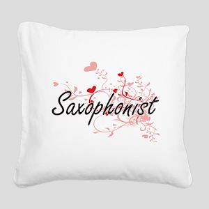 Saxophonist Artistic Job Desi Square Canvas Pillow