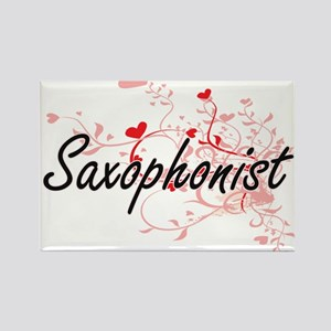 Saxophonist Artistic Job Design with Heart Magnets