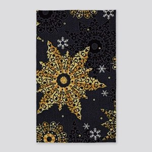 Xmas Snowflakes Gold Area Rug