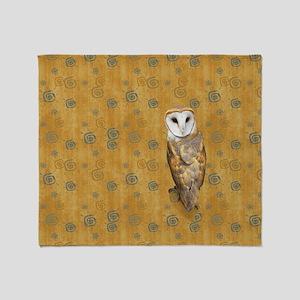 Barn Owl Retro Twirls Throw Blanket