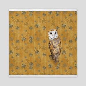 Barn Owl Retro Twirls Queen Duvet