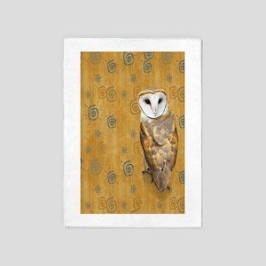Barn Owl Retro Twirls 5'x7'Area Rug