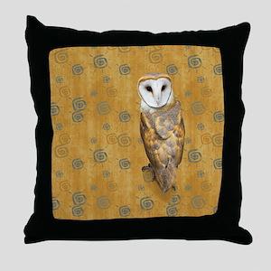 Barn Owl Retro Twirls Throw Pillow