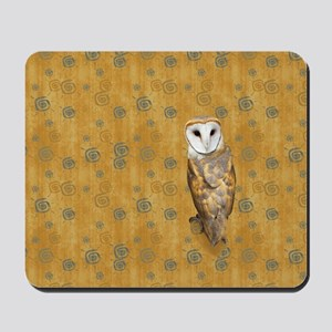 Barn Owl Retro Twirls Mousepad