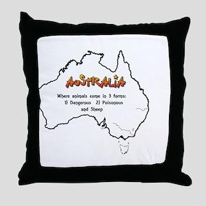 Aussie 3 Types of Animals Throw Pillow