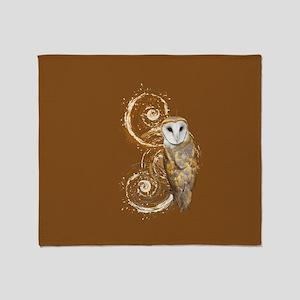 Barn Owl Brown Swirls Throw Blanket