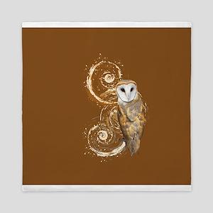 Barn Owl Brown Swirls Queen Duvet