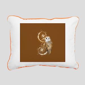 Barn Owl Brown Swirls Rectangular Canvas Pillow