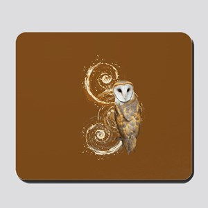 Barn Owl Brown Swirls Mousepad