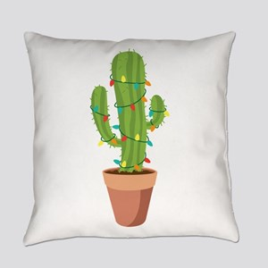 Christmas Lights Cactus Everyday Pillow