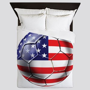 Usa Soccer Ball Queen Duvet