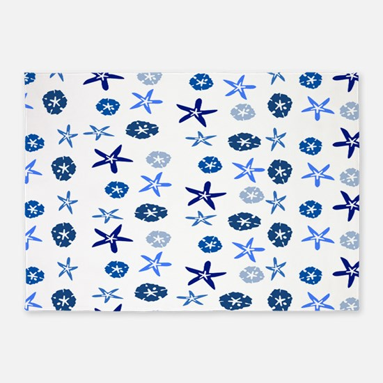 Blue Sand Stars & Dollars 5'x7'Area Rug