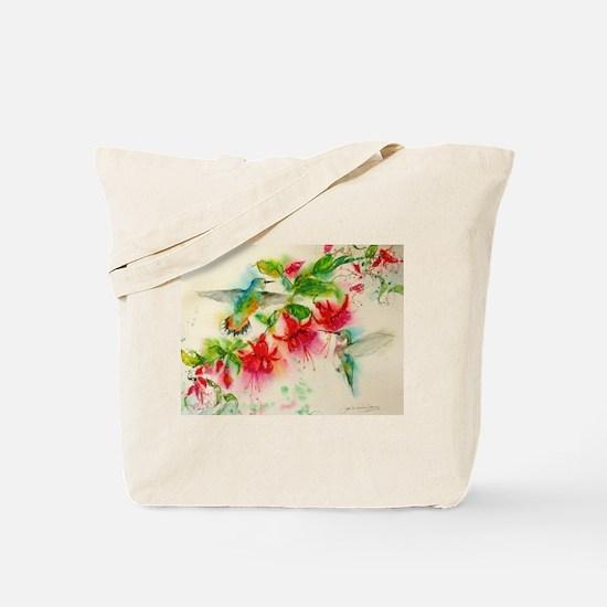 Hummingbirds in Fuschia Garden 2 Tote Bag
