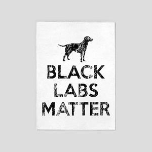 Vintage Black Labs Matter 5 X7 Area Rug