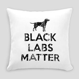 Vintage Black Labs Matter Everyday Pillow