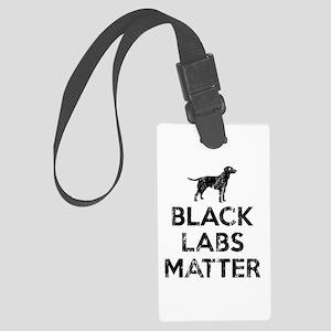 Vintage Black Labs Matter Large Luggage Tag