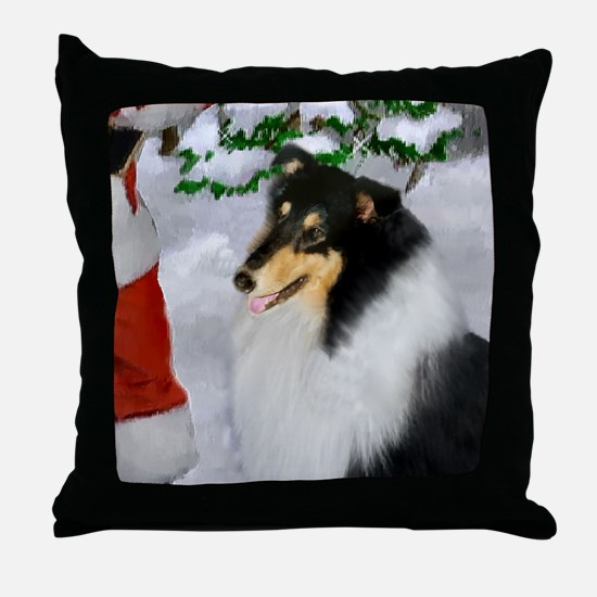Tri-Color Collie Christmas Throw Pillow