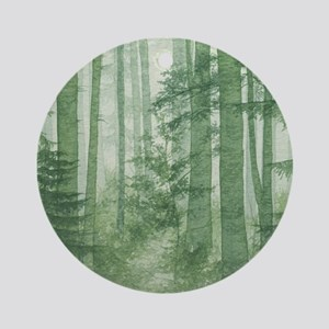 Green Misty Forest Round Ornament