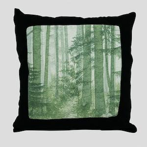 Green Misty Forest Throw Pillow