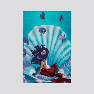 Mermaid in Shell Rectangle Magnet