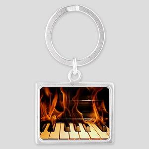 Burning Piano Landscape Keychain