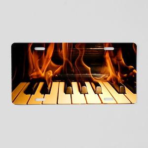 Burning Piano Aluminum License Plate