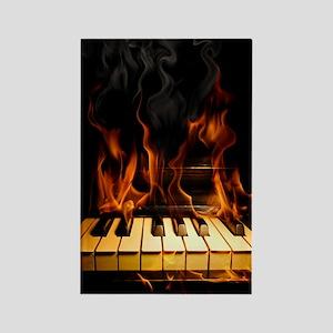Burning Piano Rectangle Magnet
