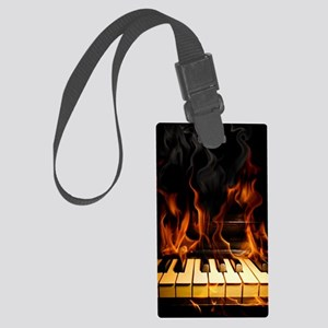 Burning Piano Large Luggage Tag
