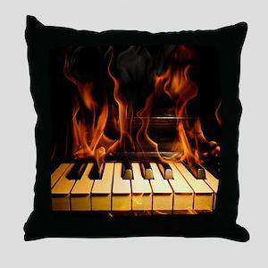 Burning Piano Throw Pillow