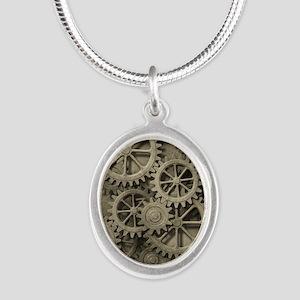 Steampunk Cogwheels Silver Oval Necklace