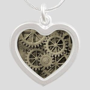 Steampunk Cogwheels Silver Heart Necklace