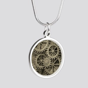 Steampunk Cogwheels Silver Round Necklace