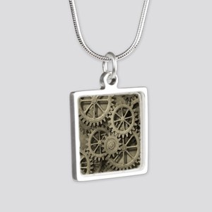 Steampunk Cogwheels Silver Square Necklace
