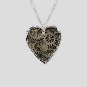 Steampunk Cogwheels Necklace Heart Charm