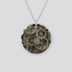 Steampunk Cogwheels Necklace Circle Charm