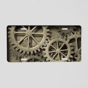 Steampunk Cogwheels Aluminum License Plate