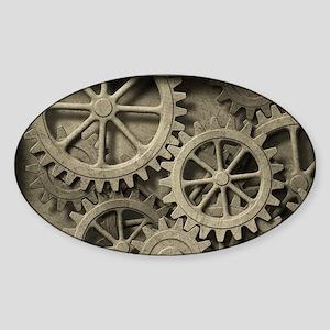 Steampunk Cogwheels Sticker (Oval)