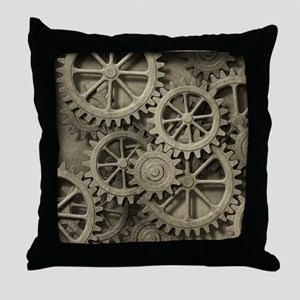 Steampunk Cogwheels Throw Pillow