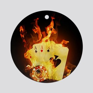 Burning Poker Round Ornament