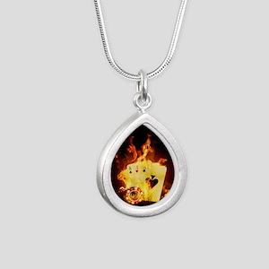 Burning Poker Silver Teardrop Necklace
