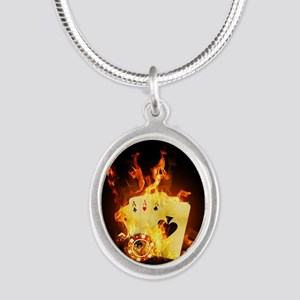 Burning Poker Silver Oval Necklace