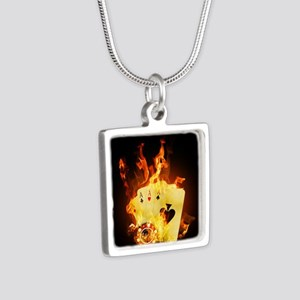 Burning Poker Silver Square Necklace