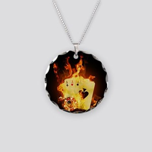 Burning Poker Necklace Circle Charm